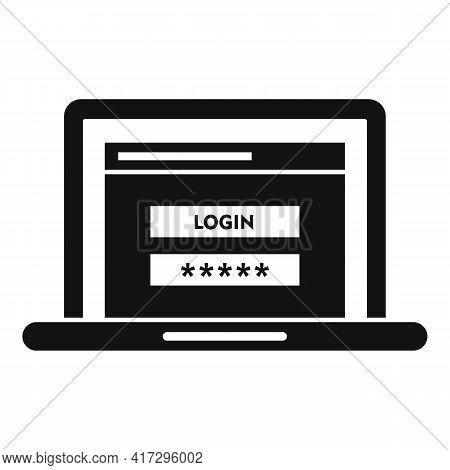 Laptop Authentication Icon. Simple Illustration Of Laptop Authentication Vector Icon For Web Design
