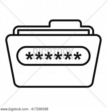 Folder Access Authentication Icon. Outline Folder Access Authentication Vector Icon For Web Design I