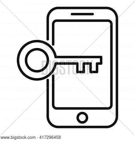 Phone Key Authentication Icon. Outline Phone Key Authentication Vector Icon For Web Design Isolated