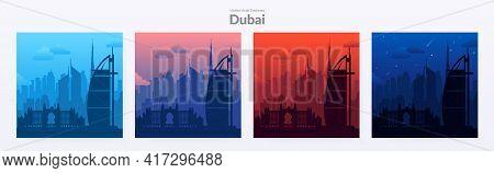 Set Of Dubai, Uae Famous City Scape Backgrounds.