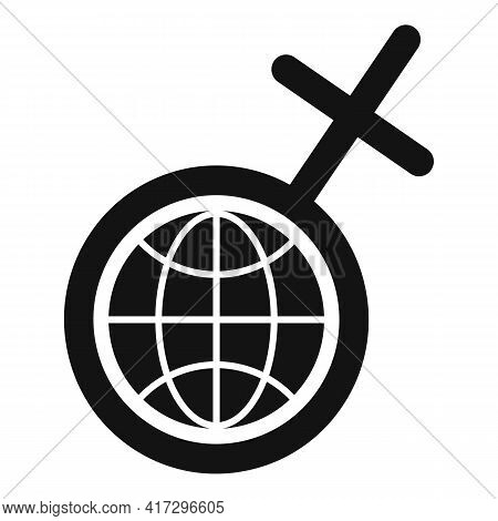 Global Woman Empowerment Icon. Simple Illustration Of Global Woman Empowerment Vector Icon For Web D