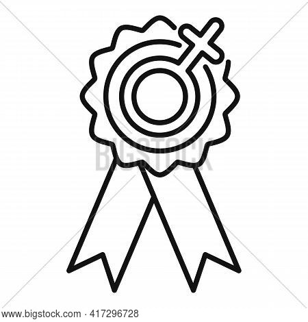 Empowerment Woman Emblem Icon. Outline Empowerment Woman Emblem Vector Icon For Web Design Isolated
