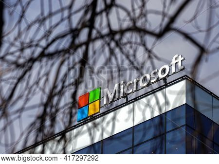 Bucharest, Romania - March 29, 2021: The Microsoft Logo Is Seen Above Its Headquarters From Campus 6