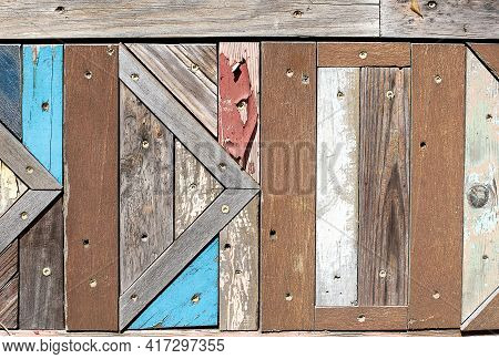 Weathered Shabby Chic Textured Wood Pattern With Faded Paint
