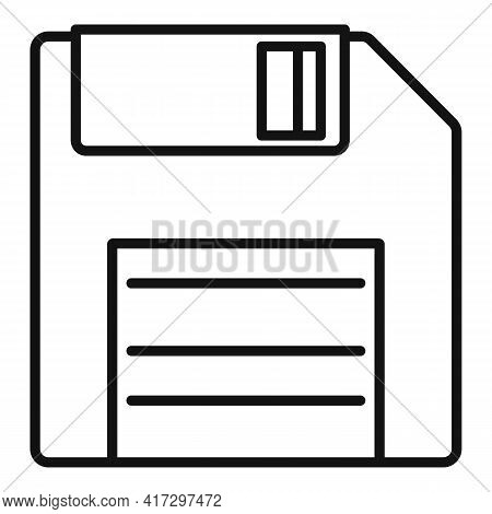 Floppy Disk Icon. Outline Floppy Disk Vector Icon For Web Design Isolated On White Background