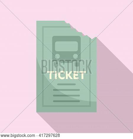 Public Bus Ticket Icon. Flat Illustration Of Public Bus Ticket Vector Icon For Web Design