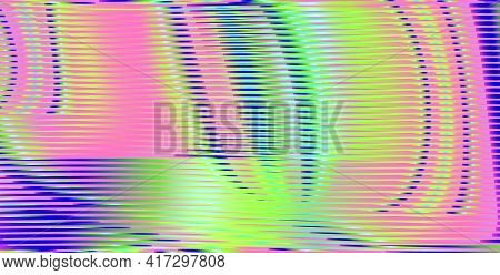 Iridescent Vector Abstract Texture With Striped And Bright Holographic Effect. Multicolored Gradient