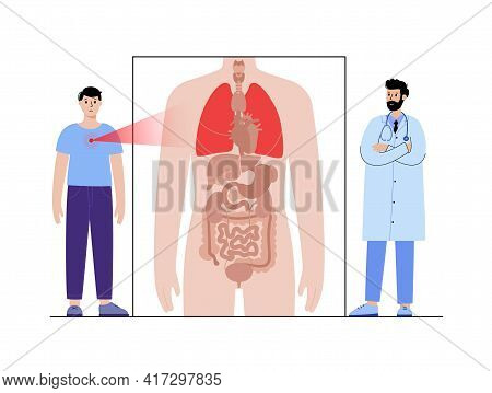 Pneumonia, Tuberculosis, Pain, In Lungs. Appointment With Doctor. Cancer Or Disease In Respiratory S