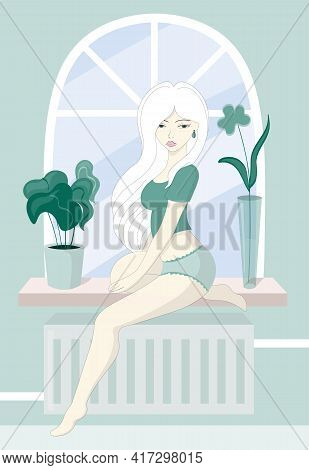Young Blond Woman In Underwear Sitting On Windowsill At Home