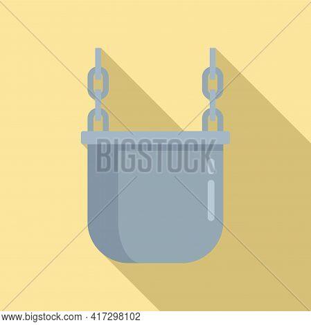 Metallurgy Cauldron Icon. Flat Illustration Of Metallurgy Cauldron Vector Icon For Web Design