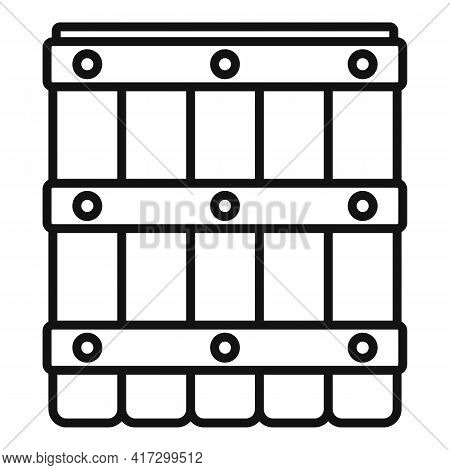 Blacksmith Wood Barrel Icon. Outline Blacksmith Wood Barrel Vector Icon For Web Design Isolated On W