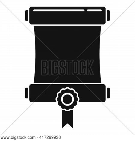 Attestation Roll Diploma Icon. Simple Illustration Of Attestation Roll Diploma Vector Icon For Web D