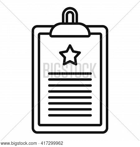 Certificate Clipboard Icon. Outline Certificate Clipboard Vector Icon For Web Design Isolated On Whi