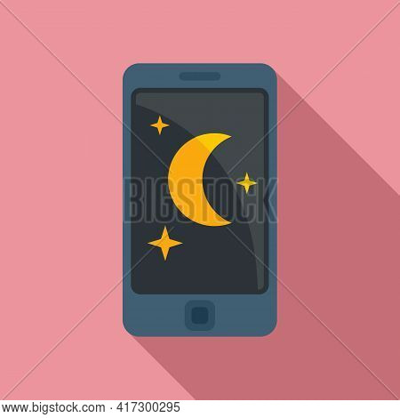 Night Phone Use Icon. Flat Illustration Of Night Phone Use Vector Icon For Web Design