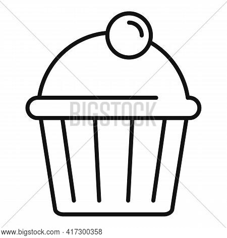 Tasty Cupcake Icon. Outline Tasty Cupcake Vector Icon For Web Design Isolated On White Background