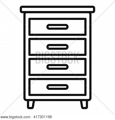 Wood Drawer Icon. Outline Wood Drawer Vector Icon For Web Design Isolated On White Background