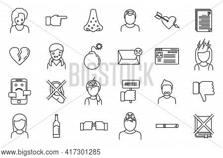 Modern Teen Problems Icons Set. Outline Set Of Modern Teen Problems Vector Icons For Web Design Isol