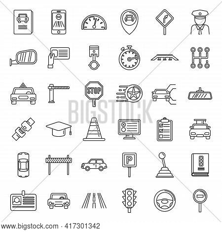Auto Driving School Icons Set. Outline Set Of Auto Driving School Vector Icons For Web Design Isolat