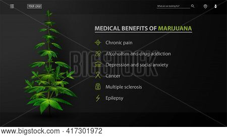 Medical Benefits Of Marijuana, Black Poster For Website With Bush Of Cannabis. Medical Uses For Mari