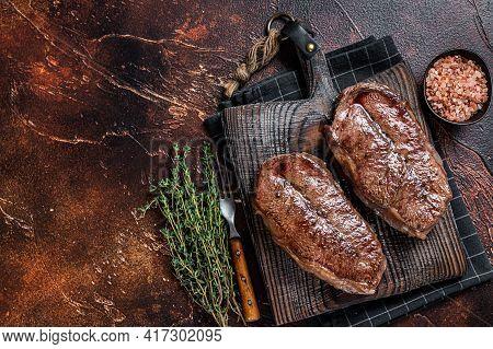 Bbq Roasted Shoulder Top Blade Cut Or Australia Wagyu Oyster Blade Beef Steak. Dark Background. Top