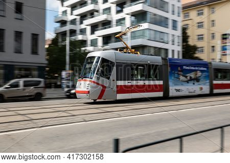 Brno, Czech Republic - September 17, 2019: Skoda 13t Tramway In A High Speed With Very Strong Motion