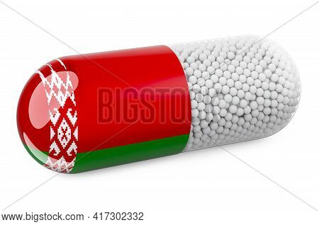 Pill Capsule With Belarusian Flag. Healthcare In Belarus Concept. 3d Rendering Isolated On White Bac