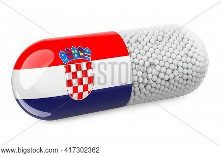 Pill Capsule With Croatian Flag. Healthcare In Croatia Concept. 3d Rendering Isolated On White Backg