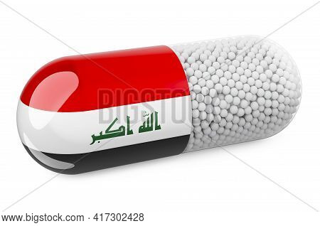 Pill Capsule With Iraqi Flag. Healthcare In Iraq Concept. 3d Rendering Isolated On White Background