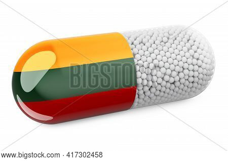 Pill Capsule With Lithuanian Flag. Healthcare In Lithuania Concept. 3d Rendering Isolated On White B