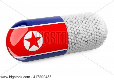Pill Capsule With North Korean Flag. Healthcare In North Korea Concept. 3d Rendering Isolated On Whi