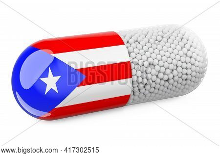 Pill Capsule With Puerto Rican Flag. Healthcare In Puerto Rico Concept. 3d Rendering Isolated On Whi