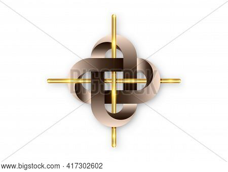 Golden Cross In Intertwined Celtic Knot, Classic Shape Simple Gold Shiny Metal Cross. Celtic Interlo