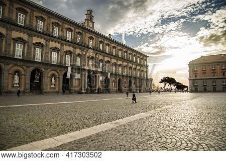 Naples, Italy - December 18, 2019: Facade Of The Historical Royal Palace In Naples, Italy