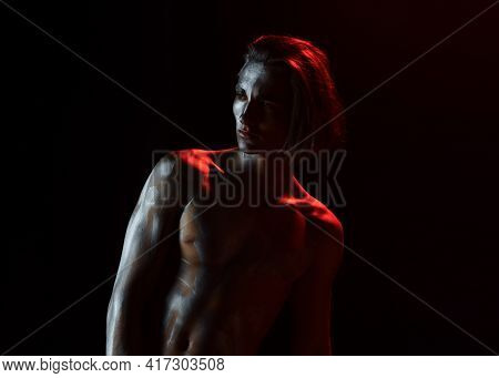 Guy Posing Confidently. Man With Nude Torso. Sexy Macho With Naked Chest. Athletic Figure Concept.