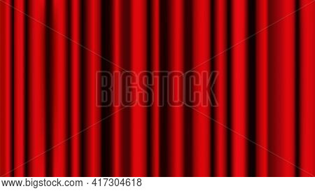 Red Curtain Bacground Stage Decoration. Vector Realistic Theatre Show Luxury Vintage Curtain. Graphi
