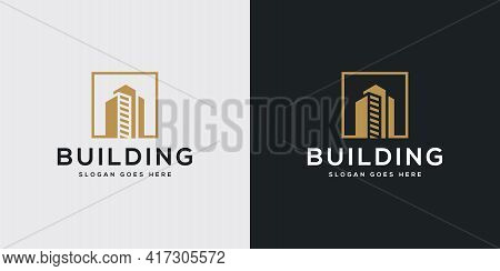 Building Logo With Line Art Style. City Building Abstract For Logo Design Inspiration
