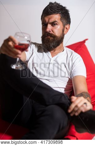 Depressed Man Drinking Alone. Alcohol Addiction. Bearded Man With Glass Of Wine. Alcohol Dependence.