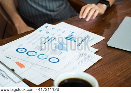 Close Up Asian Barista Business Owner Show Business Plan To Financial Advisor About Loan Contract Fo