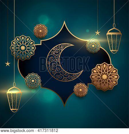 Eid Mubarak Realistic Card With Lantern And Moon