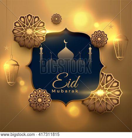 Eid Mubarak Golden Decorative Arabic Islamic Card Design