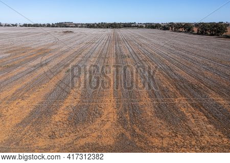 Drone Aerial Photograph Of Burnt Agricultural Fields In Regional New South Wales In Australia