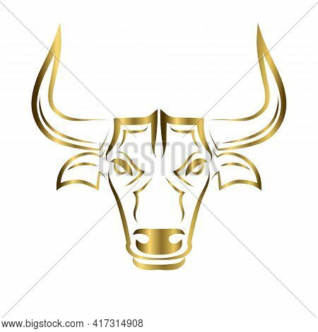 Line Vector Illustration Front View Of Bull. It Is Signs Of The Taurus Zodiac.