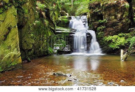 Waterfall In Resov In Moravia, Czech Republic