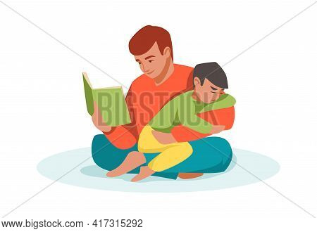 Family Scene. Cartoon Father Reading Book To Son. Man Sitting In Lotus Pose And Hugging Boy. Kid In
