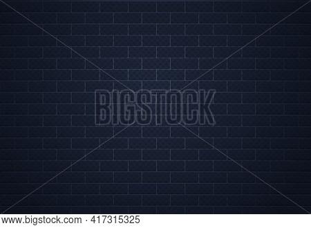 Brick Dark Wall. Realistic Grunge Cement Surface. Brickwork Background. Building Exterior Template.