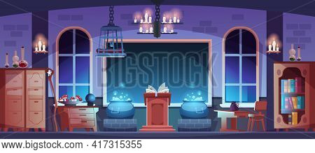 Magic School. Magician Classroom Interior With Potion, Spell Book Or Broom. Witchcraft Laboratory. R