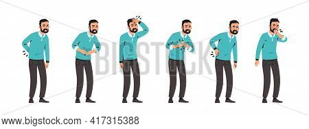 Sick Man. Cartoon Character With Pain In Stomach And Back. Unhappy Male Feeling Ill. Standing Person