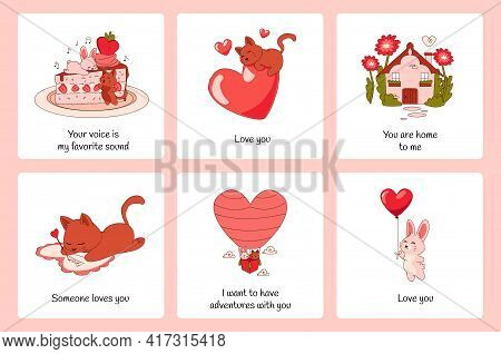 Romantic Animals Posters. Cartoon Greeting Cards. Funny Cats And Rabbits. Cute Valentines Collection