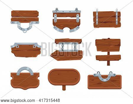 Wooden Board. Cartoon Signboards. Hardwood Planks Hanging On Metal Chains. Directional Road Signpost