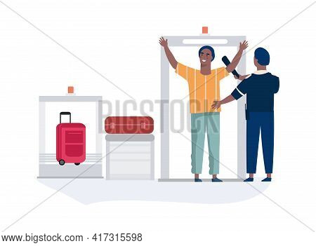 Airport Security. Airline Employee Checking Passenger Waving Scanner. Checkpoint With Conveyor X-ray